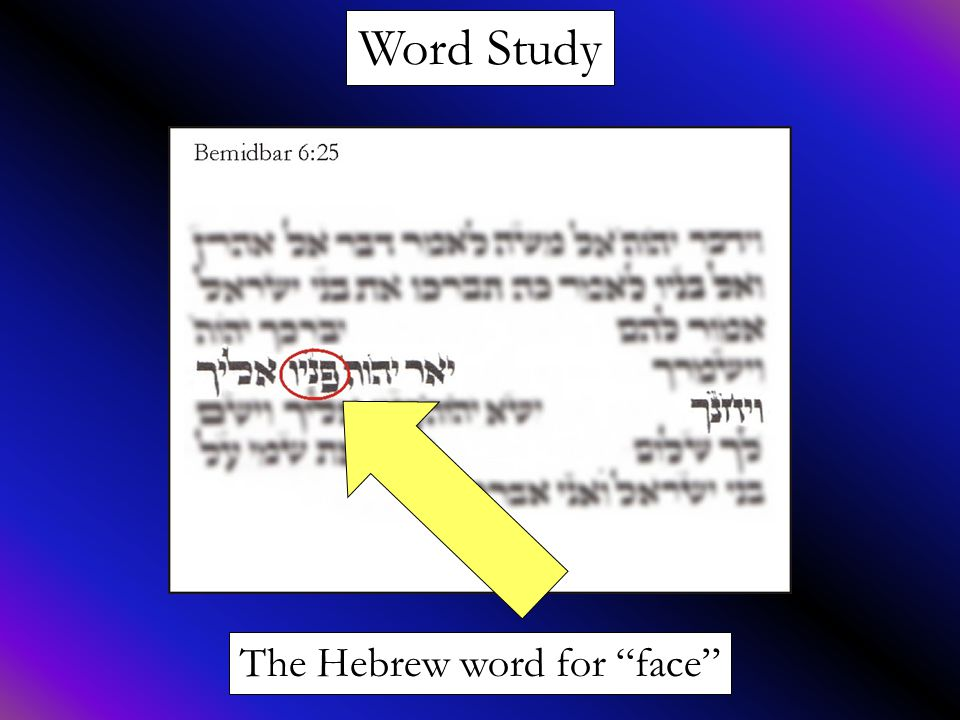 """Word Study The Hebrew word for """"face"""""""