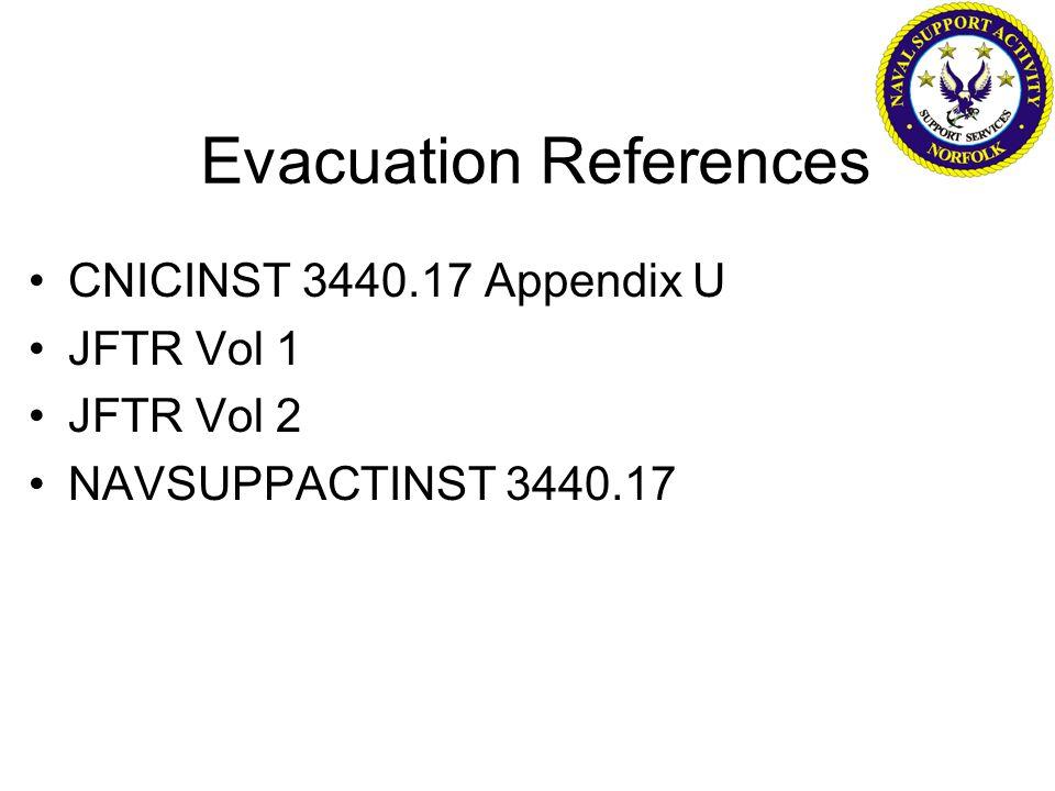 Evacuation References CNICINST 3440.17 Appendix U JFTR Vol 1 JFTR Vol 2 NAVSUPPACTINST 3440.17
