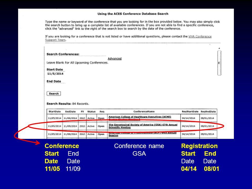 Conference name GSA Registration Start End Date 04/14 08/01 Conference Start End Date 11/05 11/09