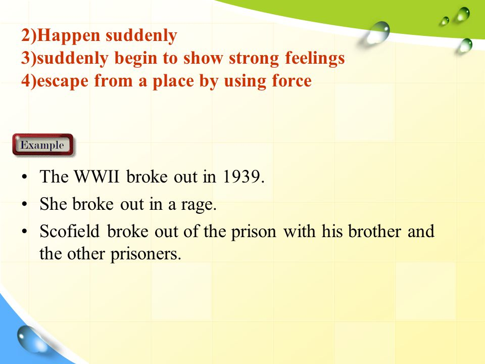 2)Happen suddenly 3)suddenly begin to show strong feelings 4)escape from a place by using force The WWII broke out in 1939.