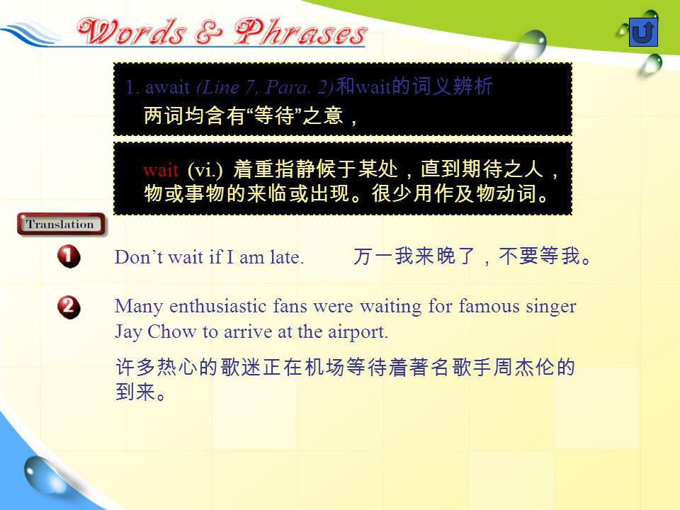 1. await (Line 7, Para. 2) 和 wait 的词义辨析 两词均含有 等待 之意, Don't wait if I am late.