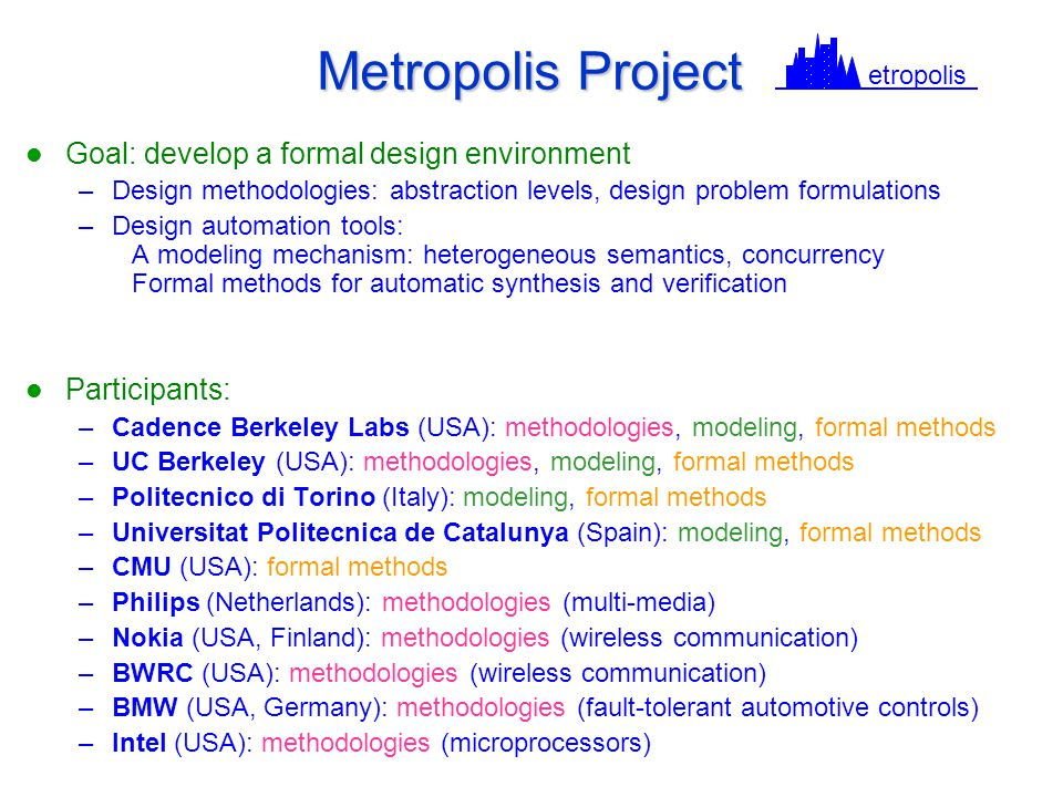 Metropolis Project Goal: develop a formal design environment –Design methodologies: abstraction levels, design problem formulations –Design automation tools: A modeling mechanism: heterogeneous semantics, concurrency Formal methods for automatic synthesis and verification Participants: –Cadence Berkeley Labs (USA): methodologies, modeling, formal methods –UC Berkeley (USA): methodologies, modeling, formal methods –Politecnico di Torino (Italy): modeling, formal methods –Universitat Politecnica de Catalunya (Spain): modeling, formal methods –CMU (USA): formal methods –Philips (Netherlands): methodologies (multi-media) –Nokia (USA, Finland): methodologies (wireless communication) –BWRC (USA): methodologies (wireless communication) –BMW (USA, Germany): methodologies (fault-tolerant automotive controls) –Intel (USA): methodologies (microprocessors) etropolis