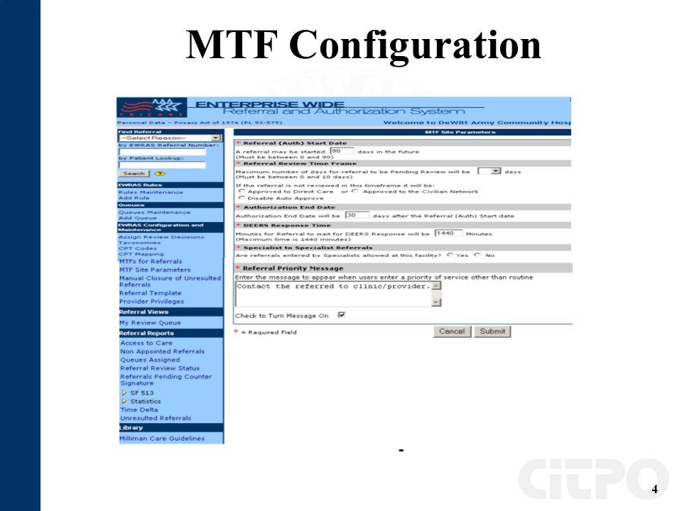 4 MTF Configuration