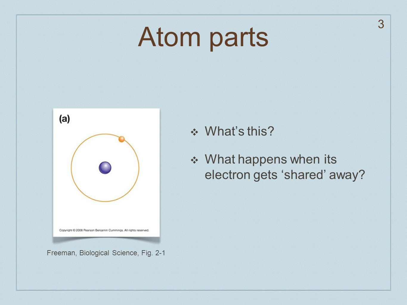 3 Atom parts ❖ What's this? ❖ What happens when its electron gets 'shared' away? Freeman, Biological Science, Fig. 2-1