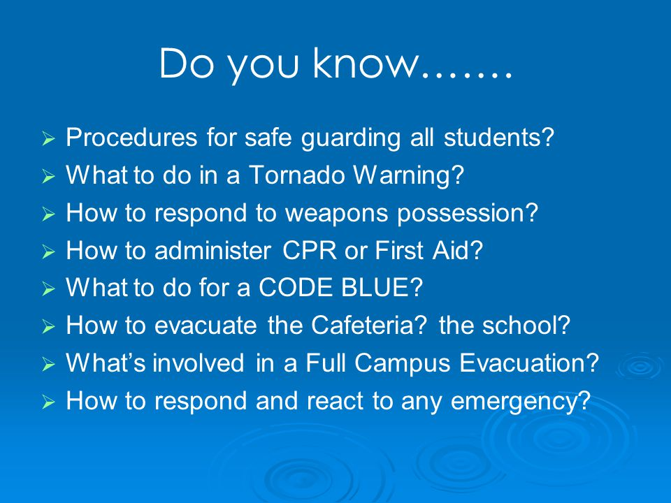 Do you know…….   Procedures for safe guarding all students.