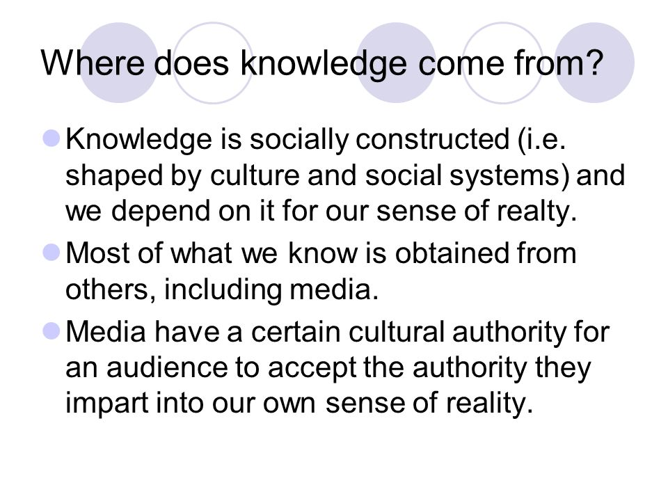 Where does knowledge come from. Knowledge is socially constructed (i.e.