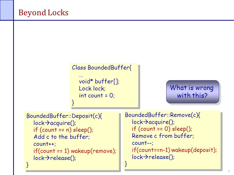 7 Beyond Locks Class BoundedBuffer{ … void* buffer[]; Lock lock; int count = 0; } Class BoundedBuffer{ … void* buffer[]; Lock lock; int count = 0; } BoundedBuffer::Deposit(c){ lock  acquire(); if (count == n) sleep(); Add c to the buffer; count++; if(count == 1) wakeup(remove); lock  release(); } BoundedBuffer::Deposit(c){ lock  acquire(); if (count == n) sleep(); Add c to the buffer; count++; if(count == 1) wakeup(remove); lock  release(); } BoundedBuffer::Remove(c){ lock  acquire(); if (count == 0) sleep(); Remove c from buffer; count--; if(count==n-1) wakeup(deposit); lock  release(); } BoundedBuffer::Remove(c){ lock  acquire(); if (count == 0) sleep(); Remove c from buffer; count--; if(count==n-1) wakeup(deposit); lock  release(); } What is wrong with this.