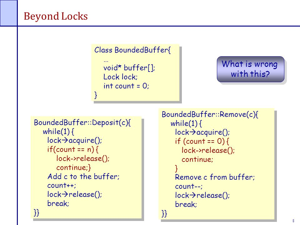 8 Beyond Locks Class BoundedBuffer{ … void* buffer[]; Lock lock; int count = 0; } Class BoundedBuffer{ … void* buffer[]; Lock lock; int count = 0; } BoundedBuffer::Deposit(c){ while(1) { lock  acquire(); if(count == n) { lock->release(); continue;} Add c to the buffer; count++; lock  release(); break;} BoundedBuffer::Deposit(c){ while(1) { lock  acquire(); if(count == n) { lock->release(); continue;} Add c to the buffer; count++; lock  release(); break;} BoundedBuffer::Remove(c){ while(1) { lock  acquire(); if (count == 0) { lock->release(); continue; } Remove c from buffer; count--; lock  release(); break; }} BoundedBuffer::Remove(c){ while(1) { lock  acquire(); if (count == 0) { lock->release(); continue; } Remove c from buffer; count--; lock  release(); break; }} What is wrong with this.