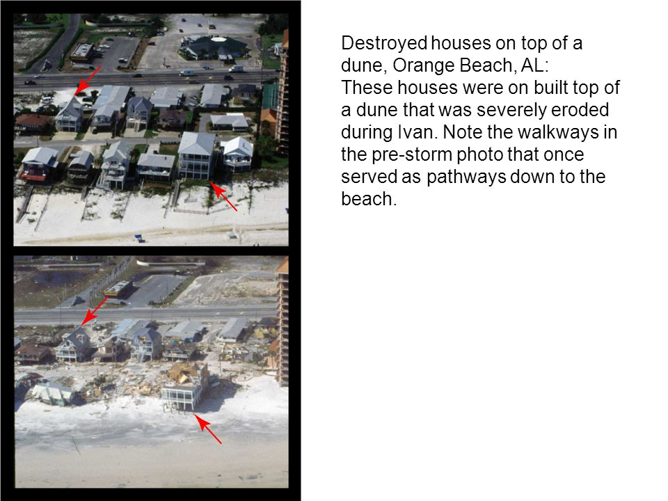 Destroyed houses on top of a dune, Orange Beach, AL: These houses were on built top of a dune that was severely eroded during Ivan.