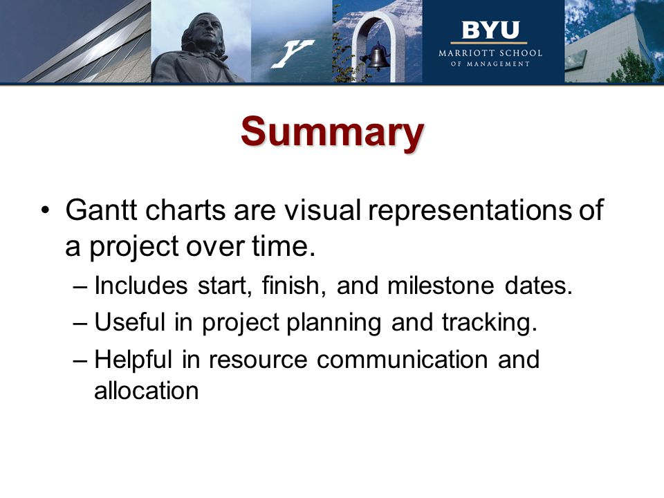 Summary Gantt charts are visual representations of a project over time. –Includes start, finish, and milestone dates. –Useful in project planning and