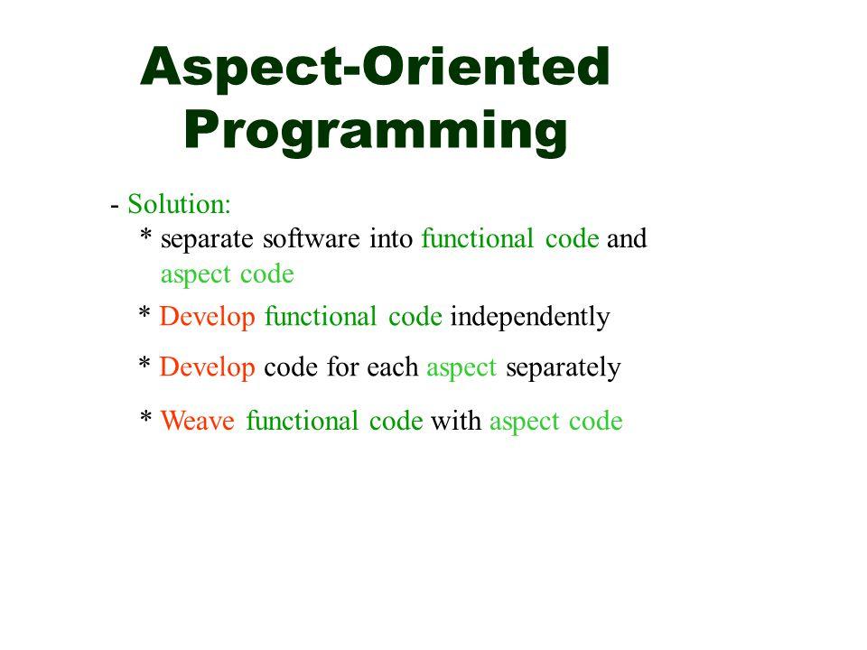 AOP Ordinary Program Functional code Code for aspect 1 Code for aspect 2 Better structured program