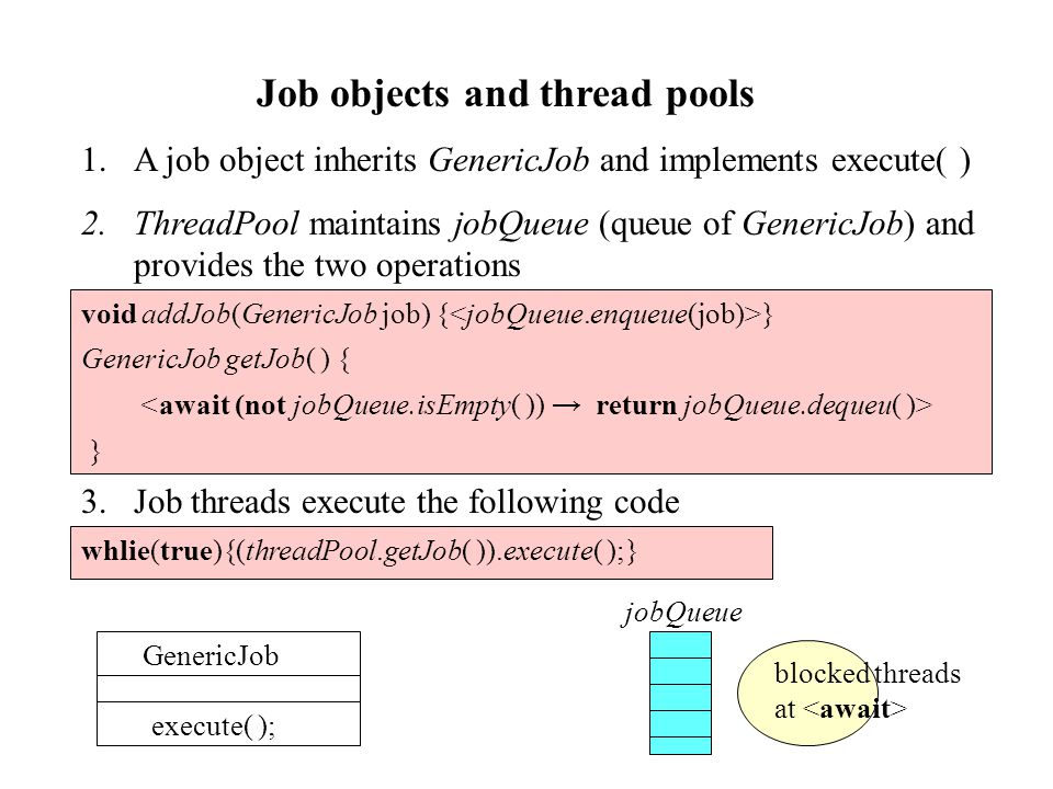 Job objects and thread pools GenericJob execute( ); 1.A job object inherits GenericJob and implements execute( ) 2.ThreadPool maintains jobQueue (queue of GenericJob) and provides the two operations void addJob(GenericJob job) { } GenericJob getJob( ) { } 3.Job threads execute the following code whlie(true){(threadPool.getJob( )).execute( );} jobQueue blocked threads at