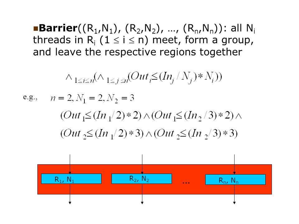 … R 1, N 1 R 2, N 2 R n, N n Barrier((R 1,N 1 ), (R 2,N 2 ), …, (R n,N n )): all N i threads in R i (1  i  n) meet, form a group, and leave the resp