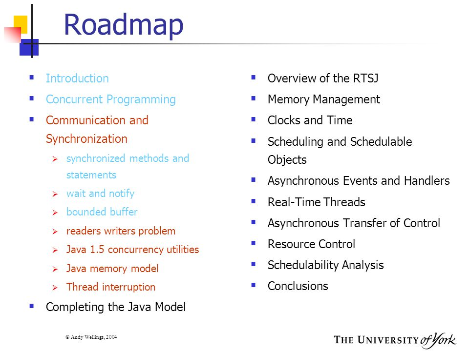 © Andy Wellings, 2004 Roadmap  Introduction  Concurrent Programming  Communication and Synchronization  synchronized methods and statements  wait