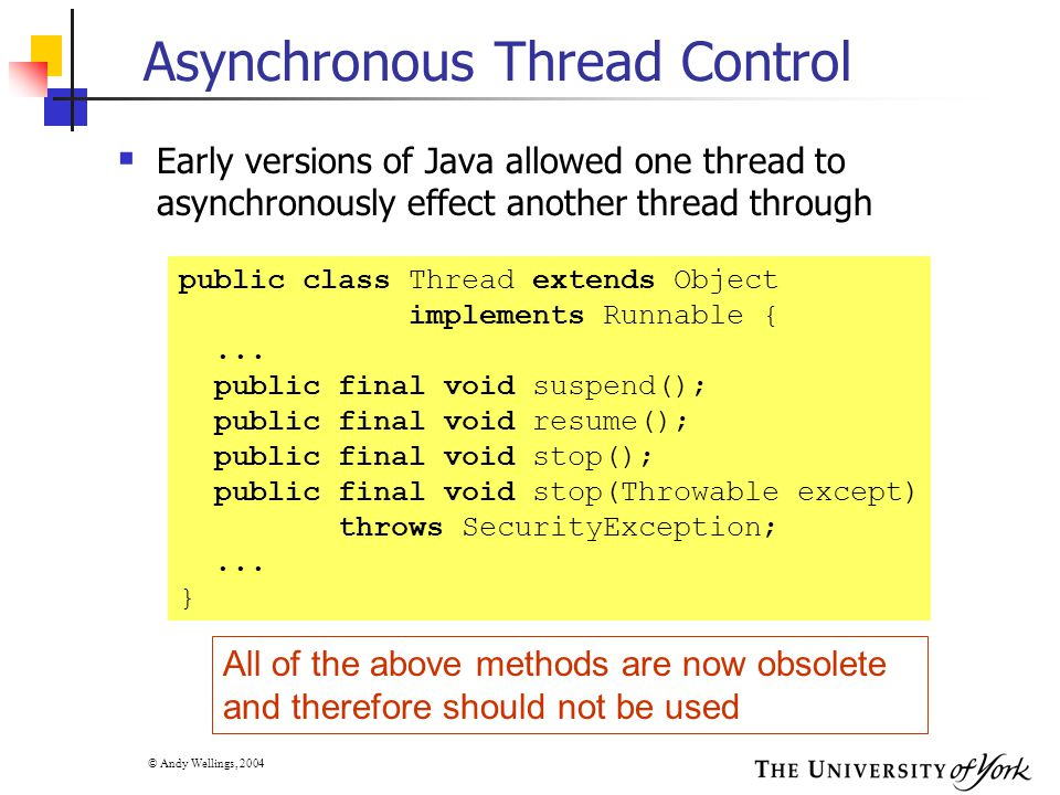 © Andy Wellings, 2004 Asynchronous Thread Control  Early versions of Java allowed one thread to asynchronously effect another thread through public c