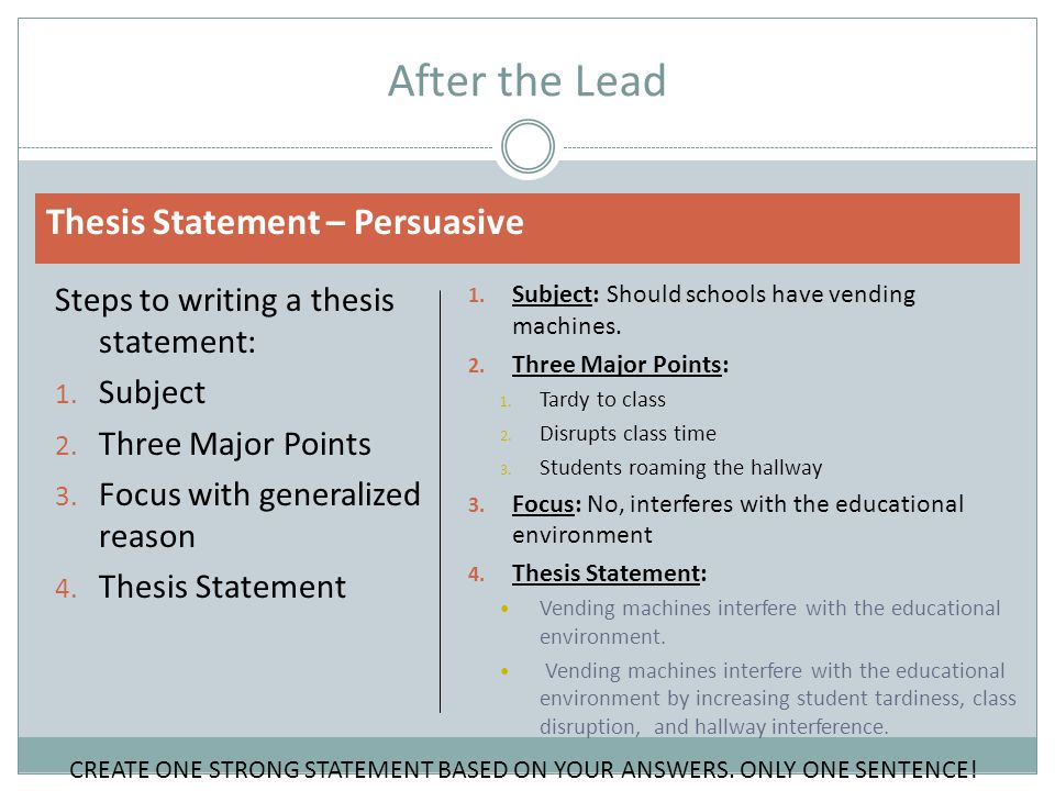After the Thesis Statement Transition the reader smoothly into your three examples  Serve as a kind of summary of the examples that support your position  Explain and describe your three examples Persuasive Essay