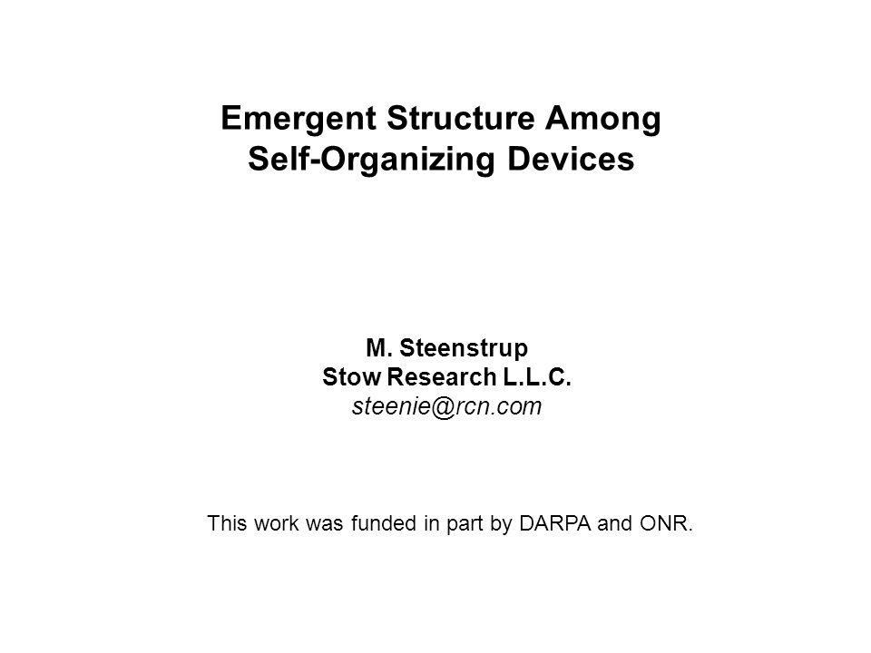 Emergent Structure Among Self-Organizing Devices M.