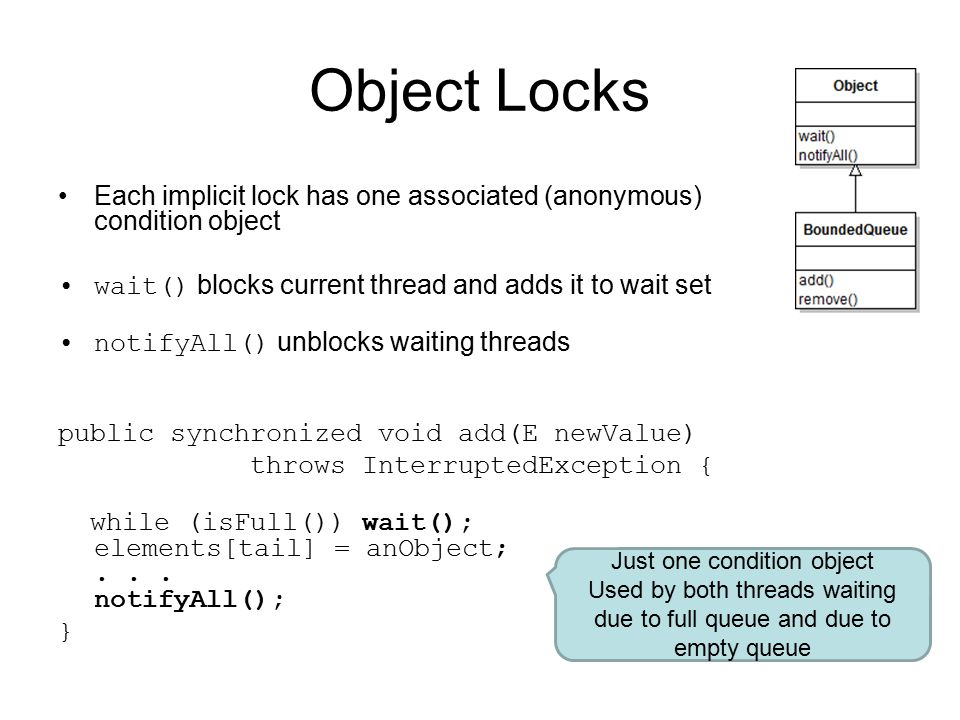 Object Locks Each implicit lock has one associated (anonymous) condition object wait() blocks current thread and adds it to wait set notifyAll() unblocks waiting threads public synchronized void add(E newValue) throws InterruptedException { while (isFull()) wait(); elements[tail] = anObject;...