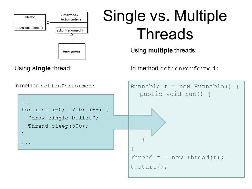 Single vs. Multiple Threads Using single thread: in method actionPerformed:...