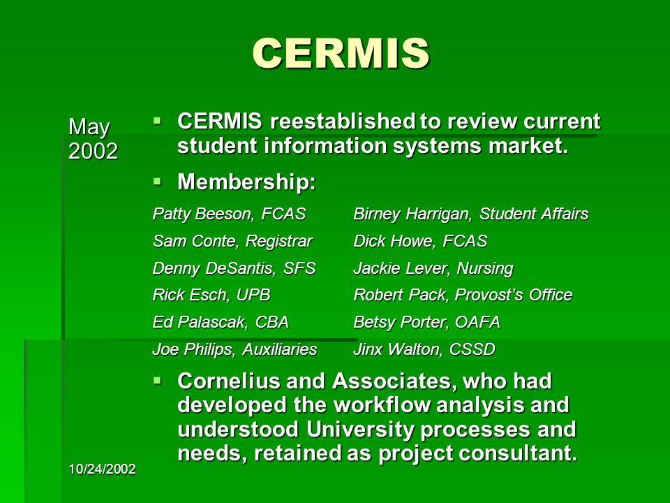 10/24/2002 CERMIS July2002  CERMIS adopts detailed project plan.