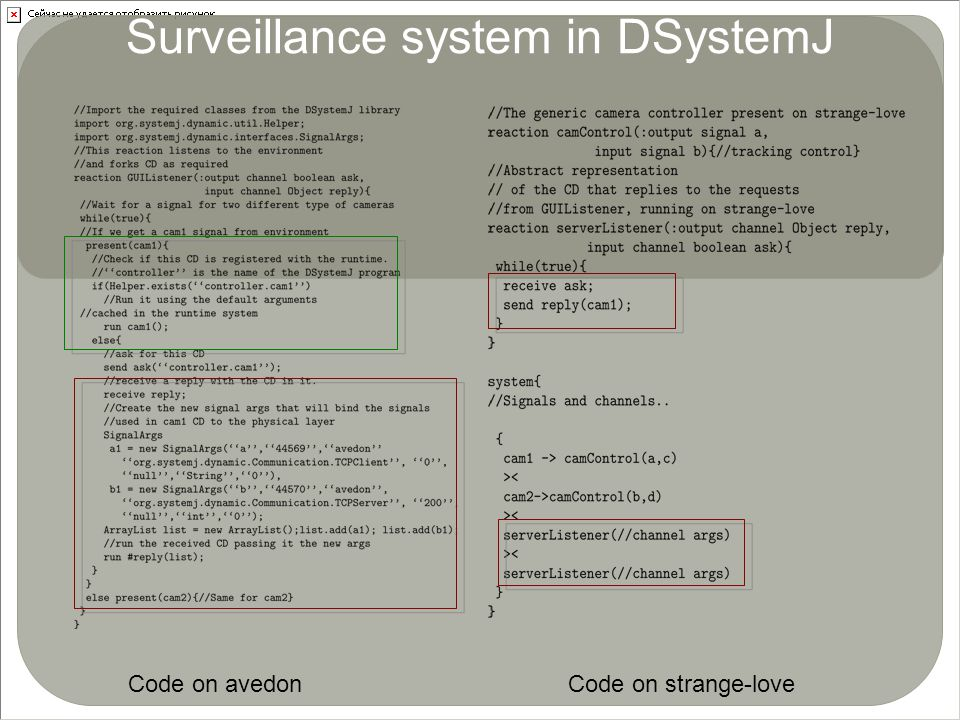 Surveillance system in DSystemJ Code on avedonCode on strange-love