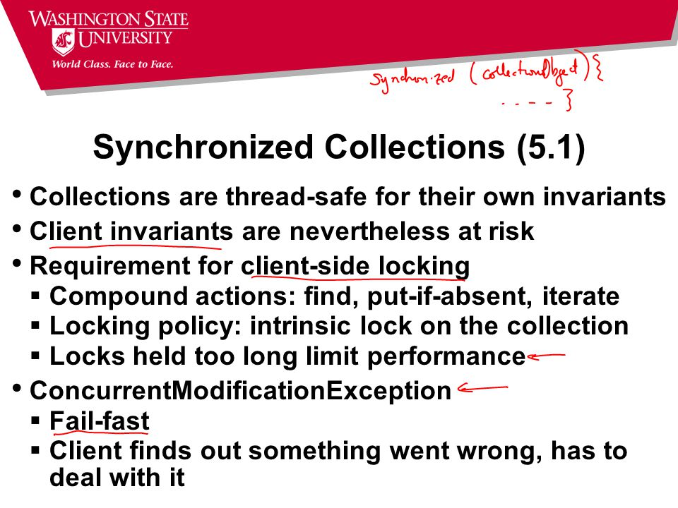 Synchronized Collections (5.1) Collections are thread-safe for their own invariants Client invariants are nevertheless at risk Requirement for client-side locking  Compound actions: find, put-if-absent, iterate  Locking policy: intrinsic lock on the collection  Locks held too long limit performance ConcurrentModificationException  Fail-fast  Client finds out something went wrong, has to deal with it