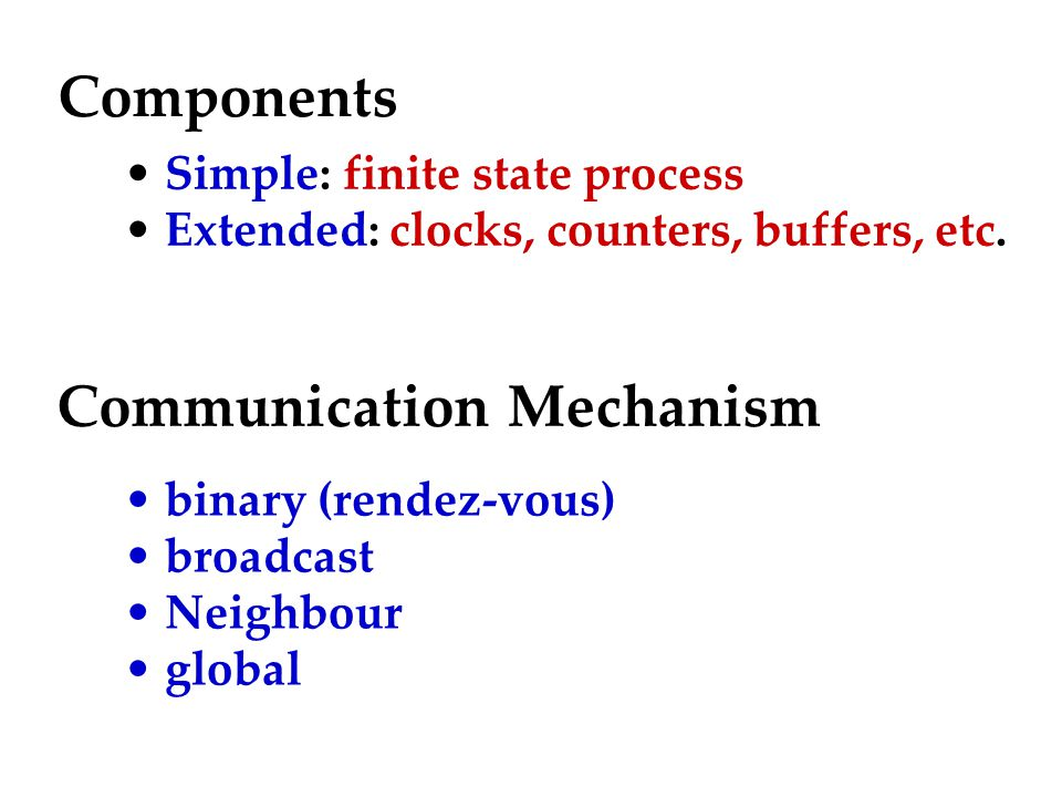Components Simple: finite state process Extended: clocks, counters, buffers, etc.