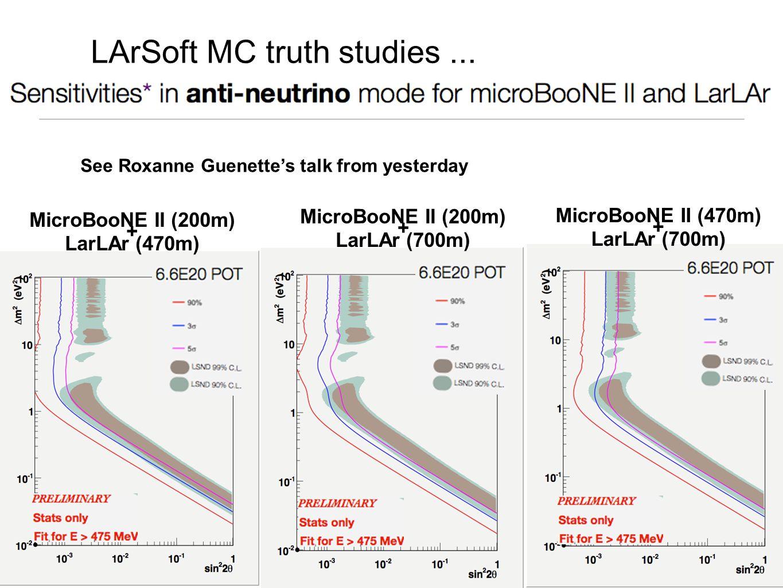 MicroBooNE II (200m) + LarLAr (470m) MicroBooNE II (200m) + LarLAr (700m) MicroBooNE II (470m) + LarLAr (700m) LArSoft MC truth studies...