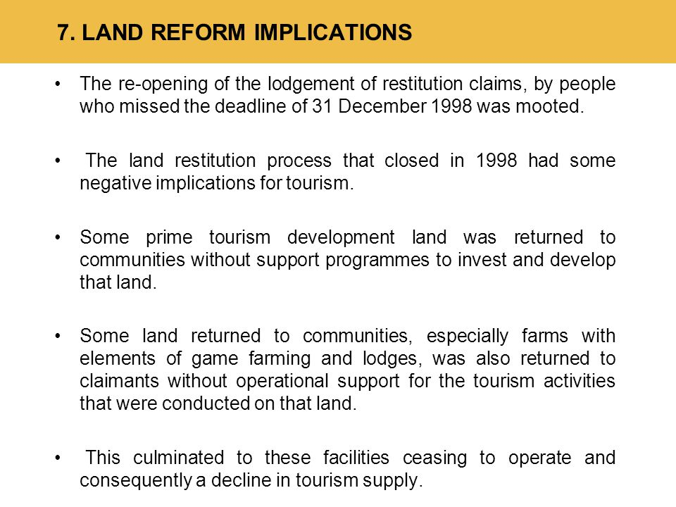 The re-opening of the lodgement of restitution claims, by people who missed the deadline of 31 December 1998 was mooted.