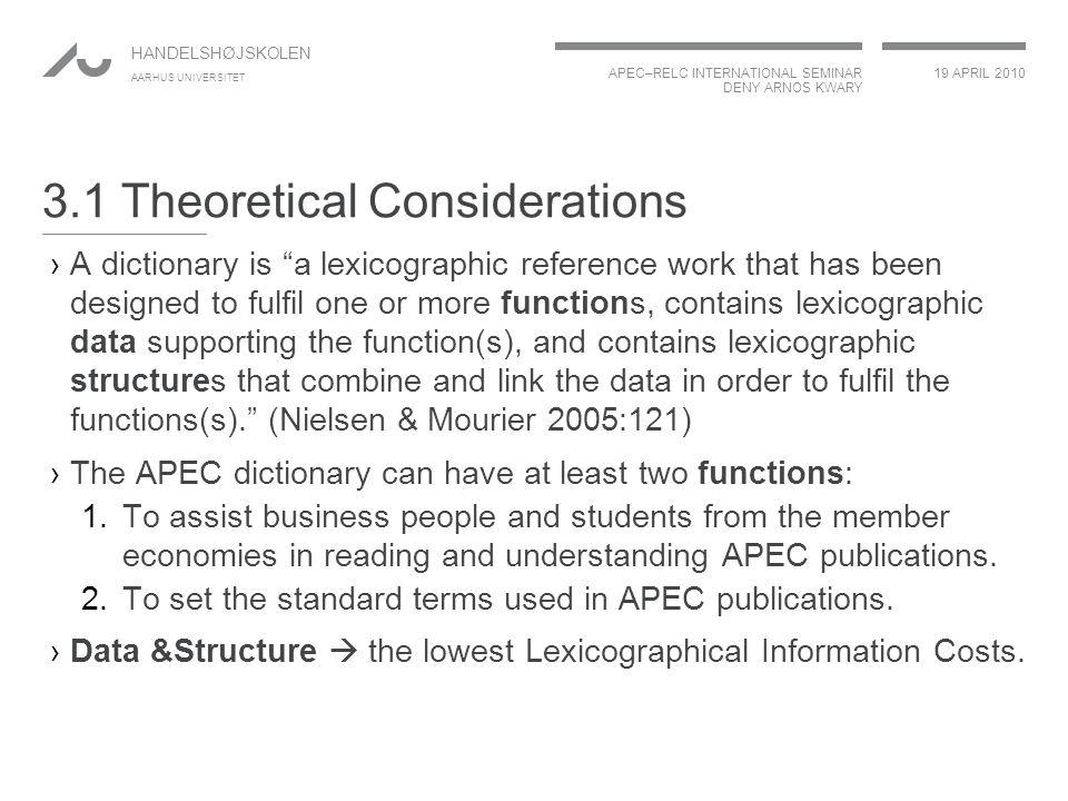 "APEC–RELC INTERNATIONAL SEMINAR DENY ARNOS KWARY 19 APRIL 2010 HANDELSHØJSKOLEN AARHUS UNIVERSITET 3.1 Theoretical Considerations ›A dictionary is ""a"