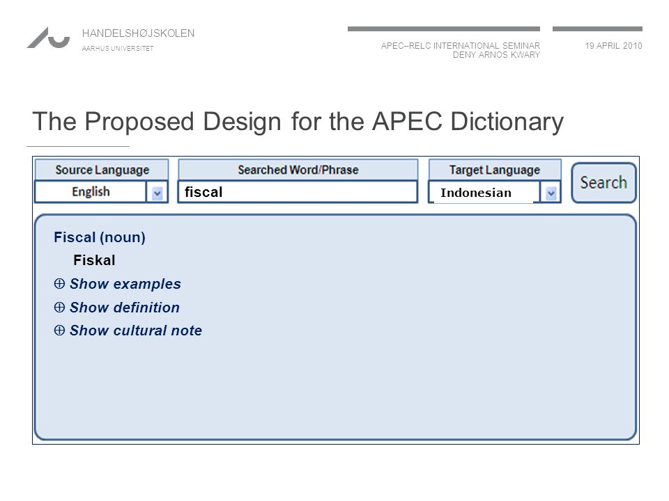 APEC–RELC INTERNATIONAL SEMINAR DENY ARNOS KWARY 19 APRIL 2010 HANDELSHØJSKOLEN AARHUS UNIVERSITET The Proposed Design for the APEC Dictionary fiscal Indonesian Fiscal (noun) Fiskal  Show examples  Show definition  Show cultural note