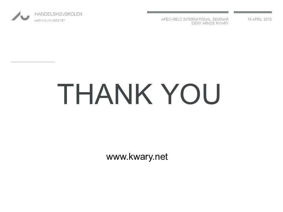APEC–RELC INTERNATIONAL SEMINAR DENY ARNOS KWARY 19 APRIL 2010 HANDELSHØJSKOLEN AARHUS UNIVERSITET THANK YOU www.kwary.net