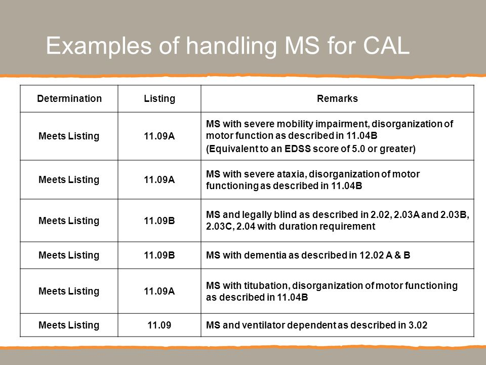 $721 million cumulative research investment (estimated through 2010) Examples of handling MS for CAL DeterminationListingRemarks Meets Listing11.09A MS with severe mobility impairment, disorganization of motor function as described in 11.04B (Equivalent to an EDSS score of 5.0 or greater) Meets Listing11.09A MS with severe ataxia, disorganization of motor functioning as described in 11.04B Meets Listing11.09B MS and legally blind as described in 2.02, 2.03A and 2.03B, 2.03C, 2.04 with duration requirement Meets Listing11.09BMS with dementia as described in 12.02 A & B Meets Listing11.09A MS with titubation, disorganization of motor functioning as described in 11.04B Meets Listing11.09MS and ventilator dependent as described in 3.02