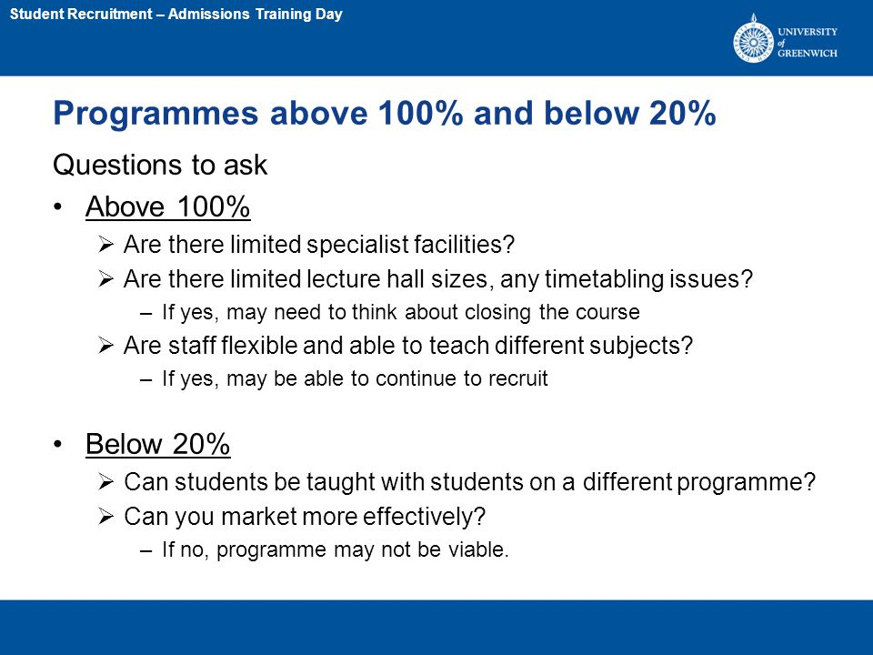 Programmes above 100% and below 20% Questions to ask Above 100%  Are there limited specialist facilities.