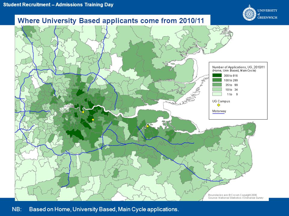 Where University Based applicants come from 2010/11 (2) NB: Based on Home, University Based, Main Cycle applications.