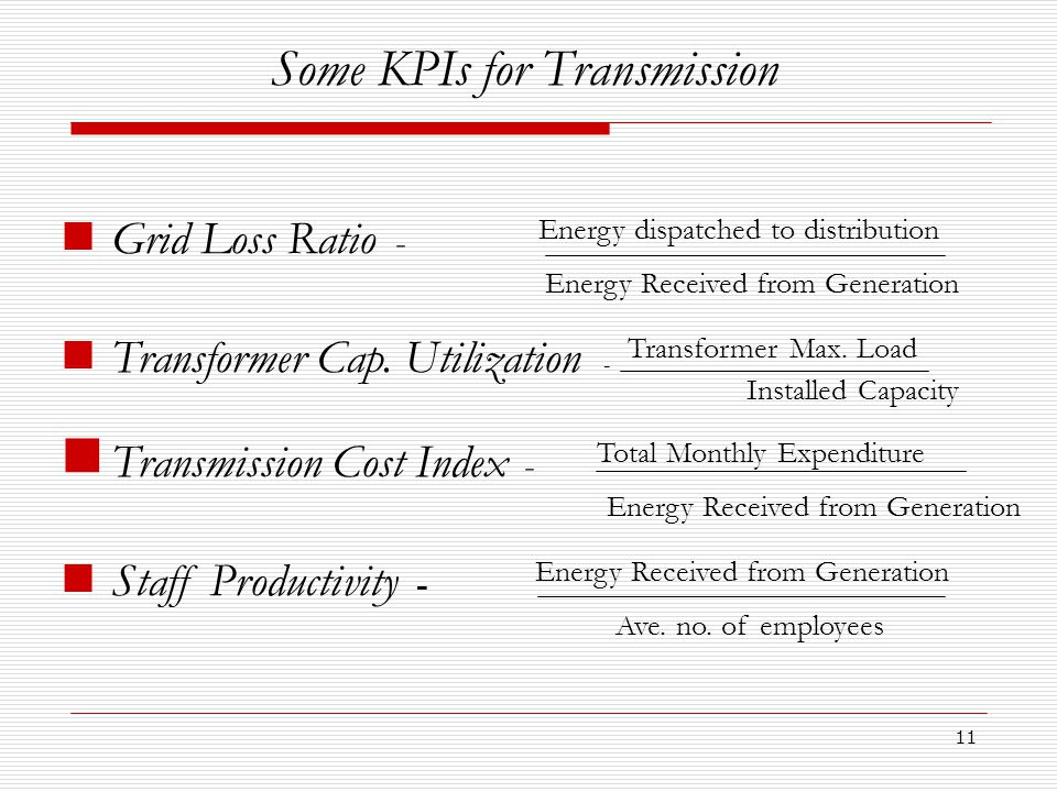 11 Some KPIs for Transmission Grid Loss Ratio - Energy dispatched to distribution Energy Received from Generation Transformer Cap.