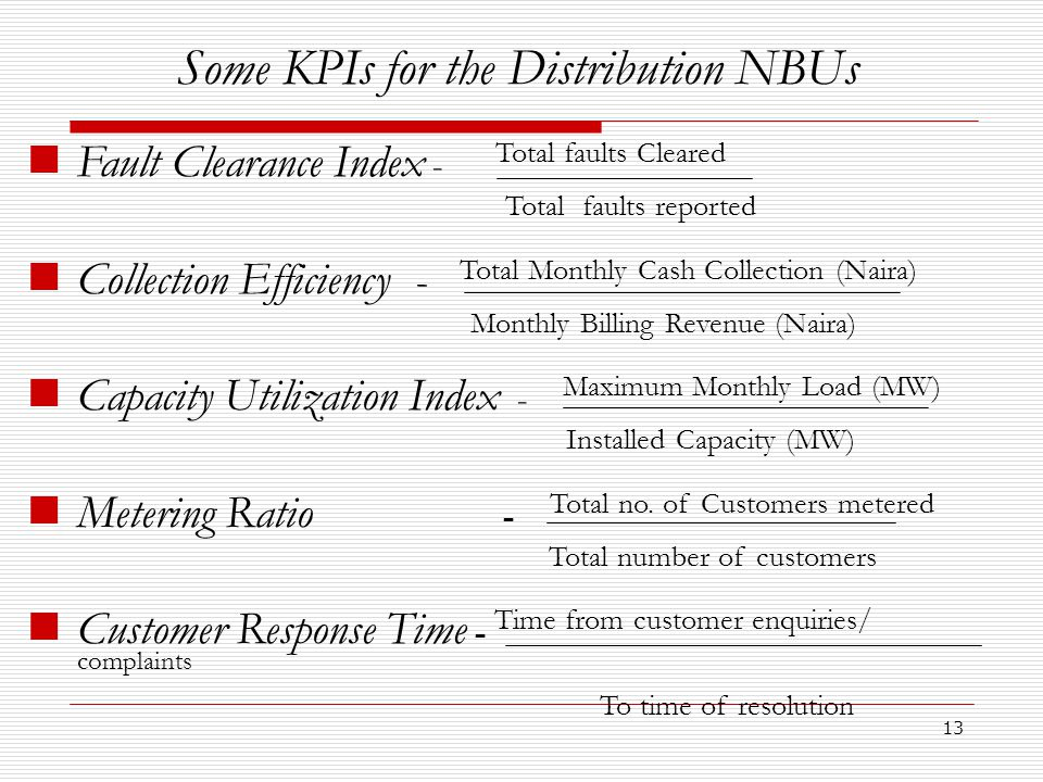 13 Some KPIs for the Distribution NBUs Fault Clearance Index - Total faults Cleared Total faults reported Collection Efficiency - Total Monthly Cash Collection (Naira) Monthly Billing Revenue (Naira) Capacity Utilization Index - Maximum Monthly Load (MW) Installed Capacity (MW) Metering Ratio - Total no.