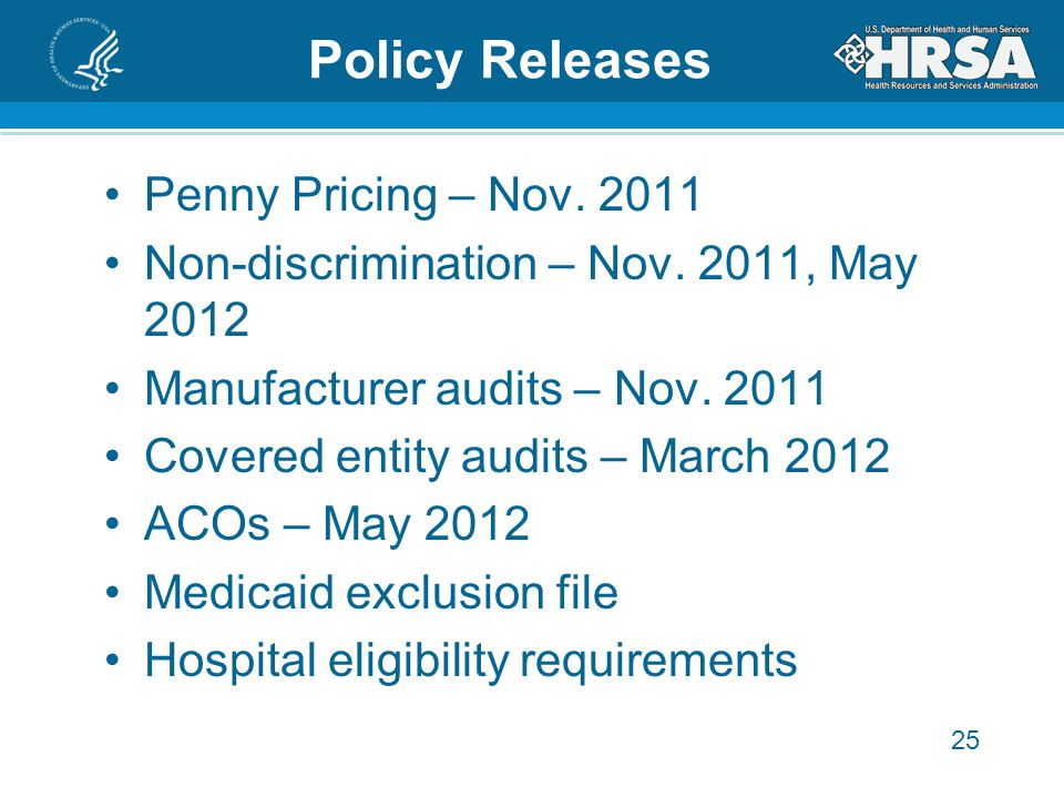 25 Policy Releases Penny Pricing – Nov. 2011 Non-discrimination – Nov.
