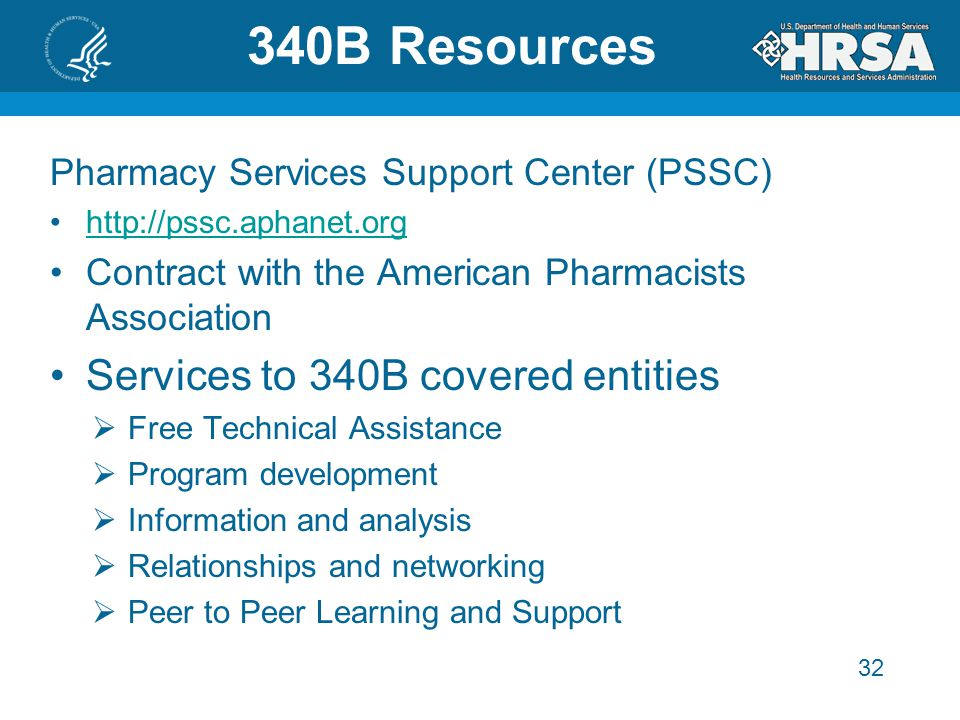 32 340B Resources Pharmacy Services Support Center (PSSC) http://pssc.aphanet.orghttp://pssc.aphanet.org Contract with the American Pharmacists Association Services to 340B covered entities  Free Technical Assistance  Program development  Information and analysis  Relationships and networking  Peer to Peer Learning and Support