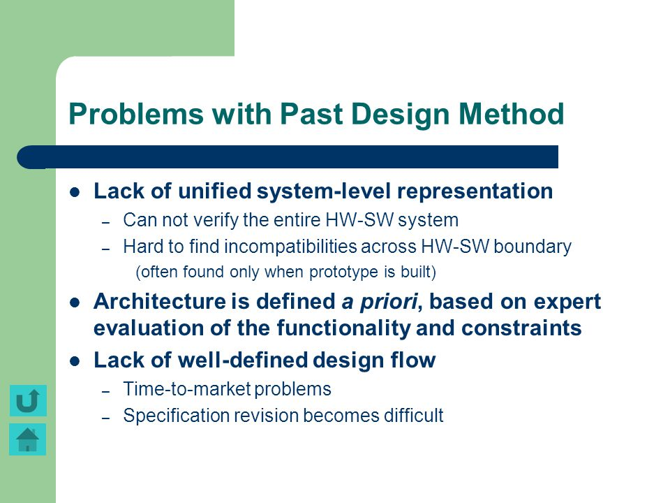 Problems with Past Design Method Lack of unified system-level representation – Can not verify the entire HW-SW system – Hard to find incompatibilities