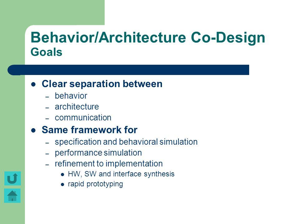 Behavior/Architecture Co-Design Goals Clear separation between – behavior – architecture – communication Same framework for – specification and behavi