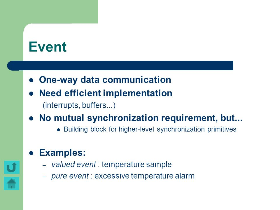 Event One-way data communication Need efficient implementation (interrupts, buffers...) No mutual synchronization requirement, but... Building block f