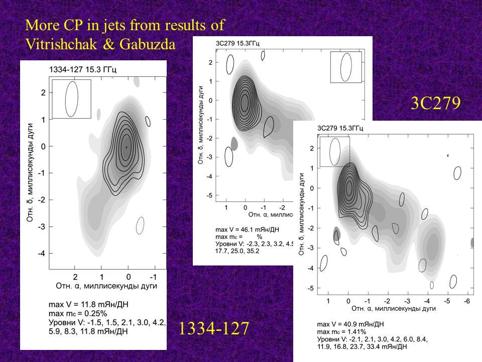 3C279 1334-127 More CP in jets from results of Vitrishchak & Gabuzda