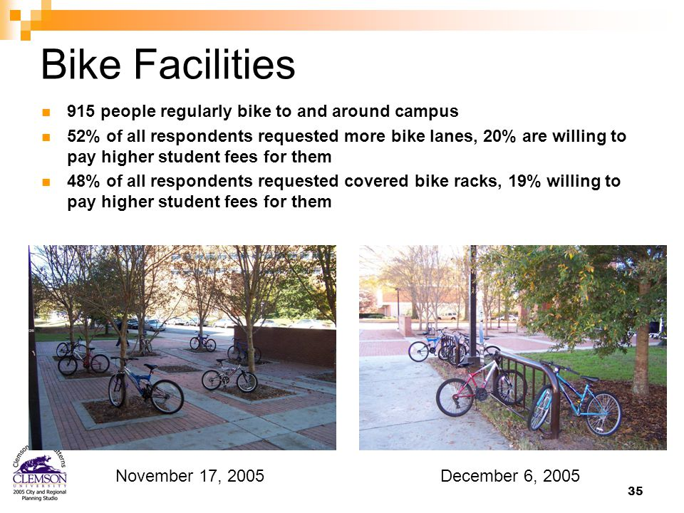 35 Bike Facilities 915 people regularly bike to and around campus 52% of all respondents requested more bike lanes, 20% are willing to pay higher student fees for them 48% of all respondents requested covered bike racks, 19% willing to pay higher student fees for them December 6, 2005November 17, 2005