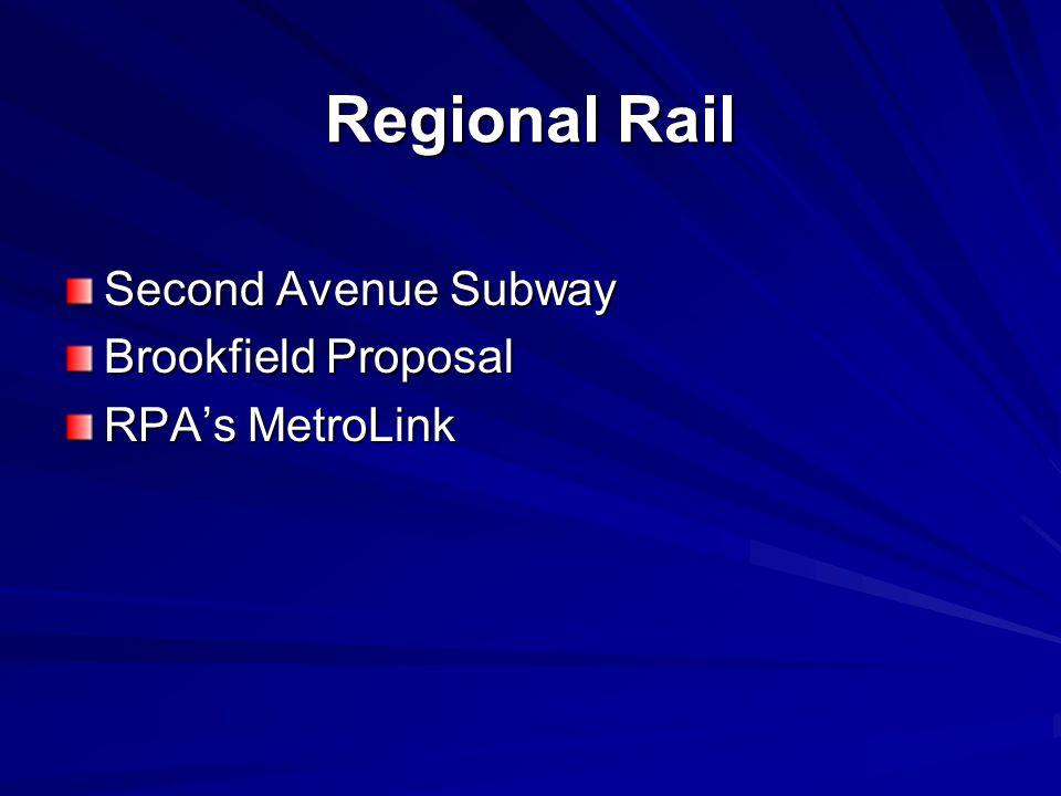 Regional Rail Second Avenue Subway Brookfield Proposal RPA's MetroLink