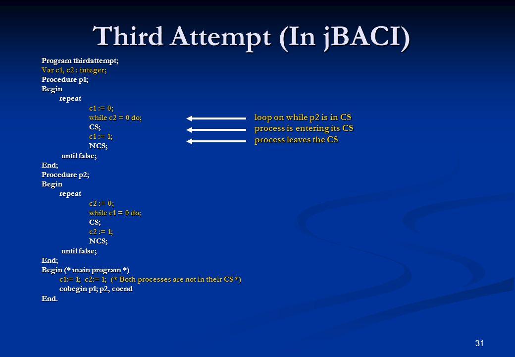 31 Third Attempt (In jBACI) Program thirdattempt; Var c1, c2 : integer; Procedure p1; Beginrepeat c1 := 0; while c2 = 0 do; CS; c1 := 1; NCS; until fa