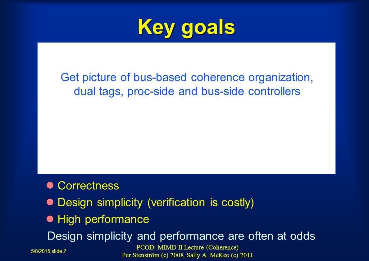 5/8/2015 slide 2 PCOD: MIMD II Lecture (Coherence) Per Stenström (c) 2008, Sally A.