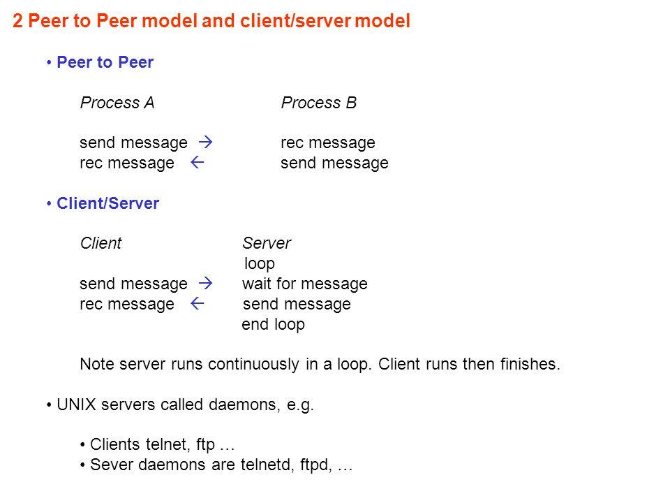 2 Peer to Peer model and client/server model Peer to Peer Process AProcess B send message  rec message rec message  send message Client/Server Client Server loop send message  wait for message rec message  send message end loop Note server runs continuously in a loop.