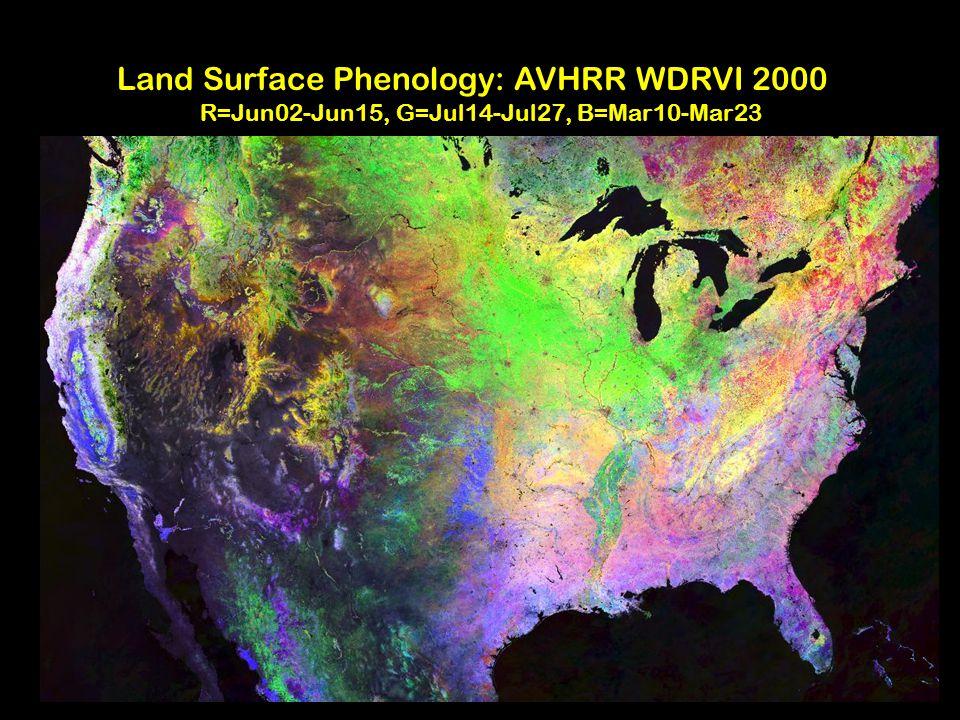 GIScCE Land Surface Phenology: AVHRR WDRVI 2000 R=Jun02-Jun15, G=Jul14-Jul27, B=Mar10-Mar23