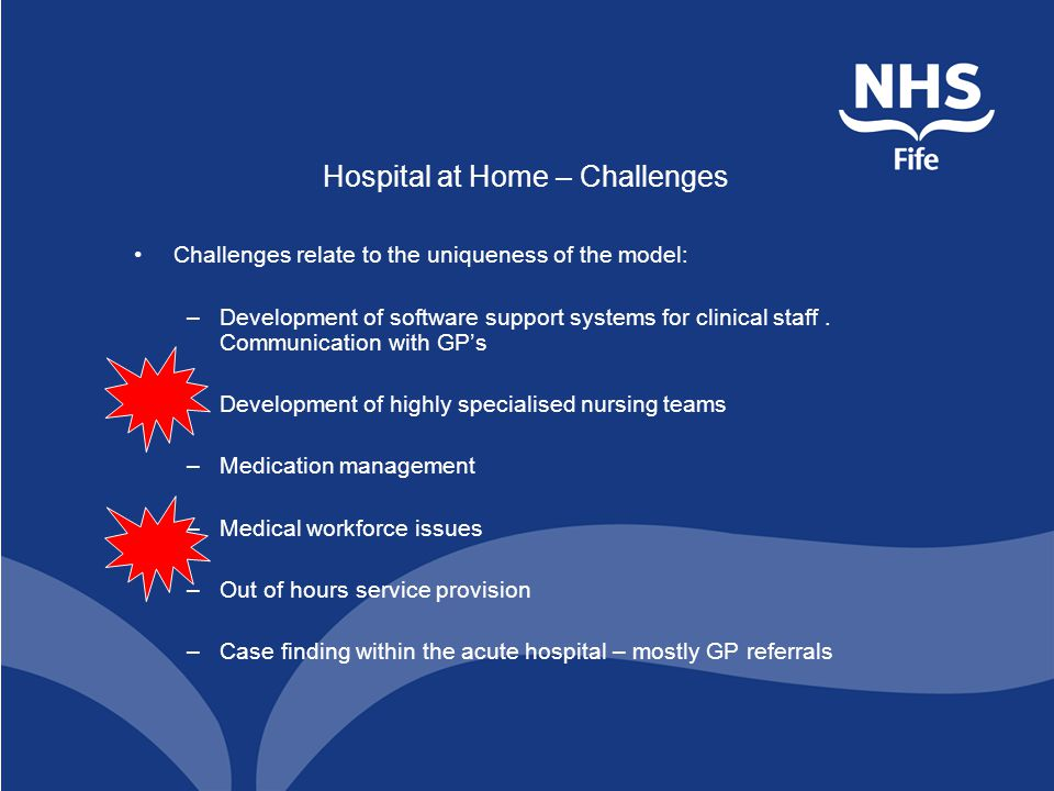 Hospital at Home – Challenges Challenges relate to the uniqueness of the model: –Development of software support systems for clinical staff.